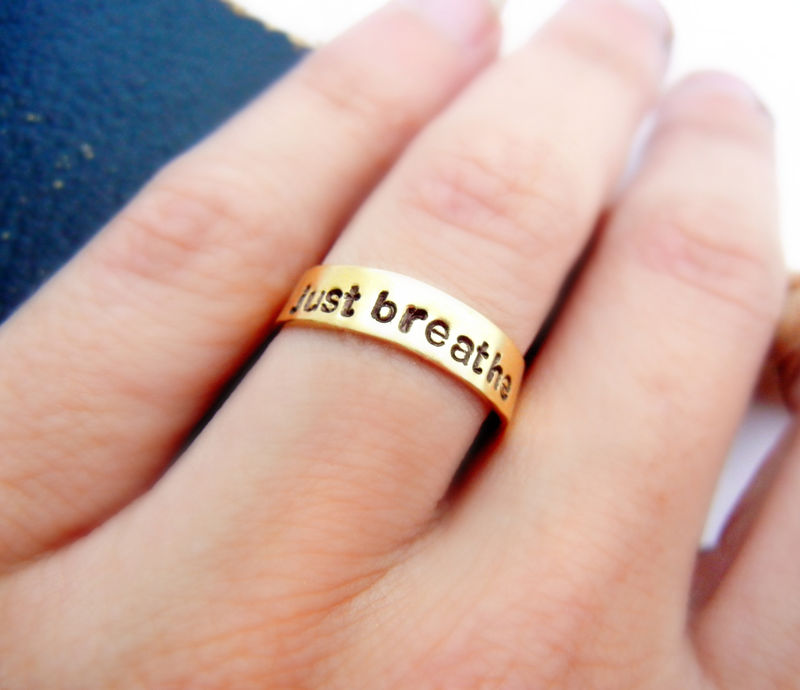 Just Breathe Gold Brass Ring - product image