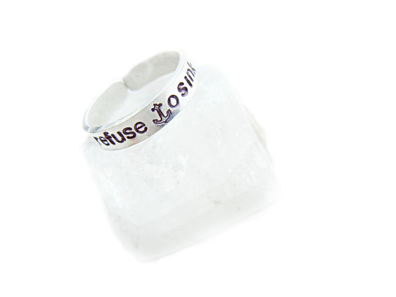Sterling Silver Refuse To Sink Nautical Ring - product image