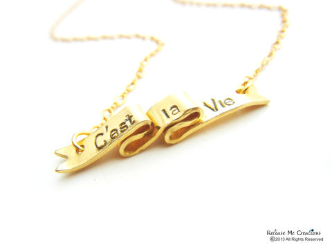 C'est,la,Vie,Ribbon,Scroll,Necklace,Parenthood,Jewelry,14k,Gold,Filled,Chain,c'est la vie, 14k gold filled, stamped, parenthood tv show, television jewelry, parenthood jewelry, parenthood necklace, release me creations, ribbon necklace, scroll necklace, celebrity