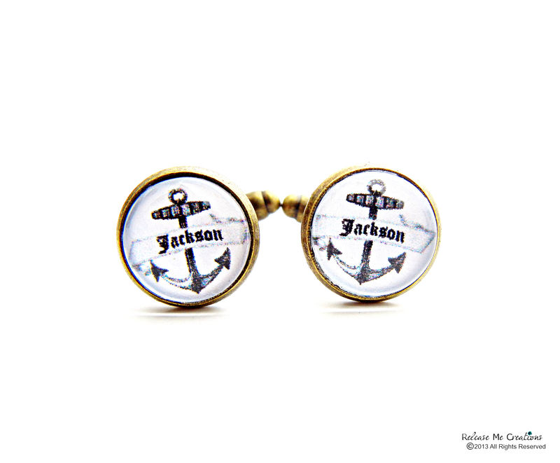 Nautical Vintage Anchor Personalized Cufflinks For Him  - product image