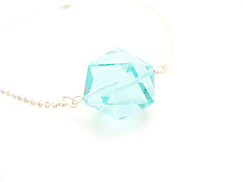 Aqua,Quartz,Dodecahedron,Sterling,Silver,Necklace,aqua, gemstone, quartz, dodecahedron, geometric, necklace, for her, sterling silver, gift