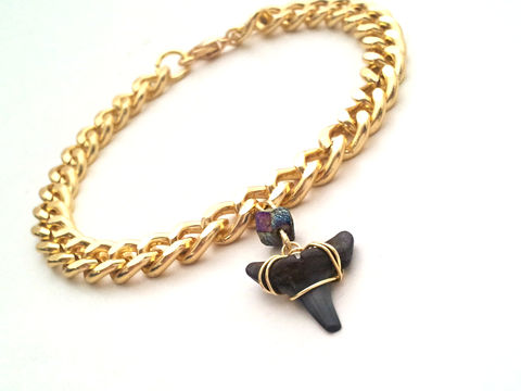Shark,Charmer,Bracelet,shark tooth, nautical, beach, summer, bracelet, for her, fossil