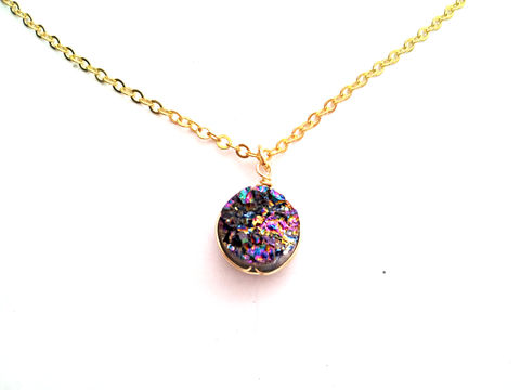 Rainbow,Druzy,Necklace,druzy, gemstone, necklace, for her, gift, bohemian