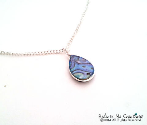 Blue,Abalone,Necklace,abalone, shell, beach, nautical, jewelry, necklace, for her, gift