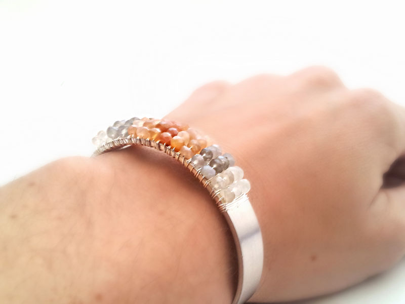 Ombre Peach Moonstone Wrapped Silver Bracelet - product image