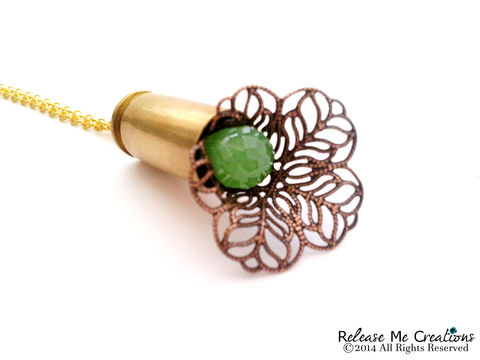 Blooming,Chalcedony,Bullet,Necklace,necklace, for her, bullet, jewelry, gift, smith & wesson, outdoors, bohemian, chalcedony, green