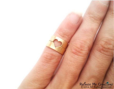 Open,Heart,Gold,Midi,Ring,Set,midi ring, heart, ring set, stacking ring, for her, gift, gold