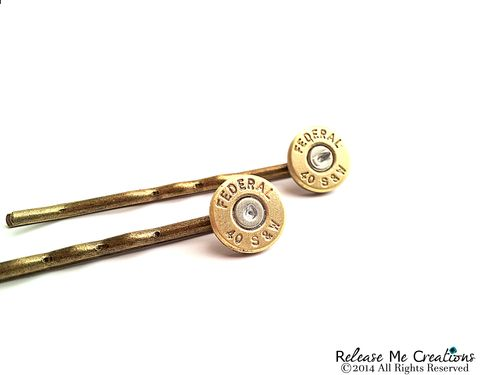 Gold,Smith,&,Wesson,Bullet,Bobby,Pin,Hair,Barrettes,bullet, bobby pin, hair, accessory, for her, smith & wesson, police, military, nra, outdoors, hunting, hunter