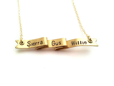CUSTOM,LISTING:,Personalized,Ribbon,Banner,Necklace