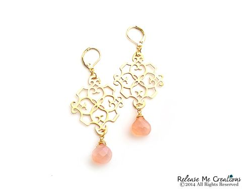 Peachy,Pink,Chalcedony,Gold,Filigree,Chandelier,Earrings,pink, chalcedony, faceted, briolette, chandelier earring, bohemian, romantic, jewelry, for her
