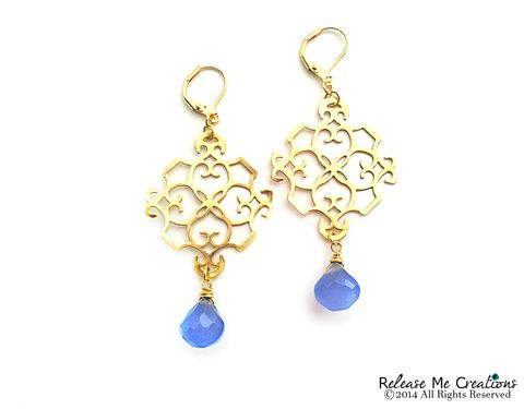 Indigo,Blue,Chalcedony,Gold,Filigree,Chandelier,Earrings,chandelier earrings, filigree, gold, chalcedony, romantic, for her, dangle, purple, blue