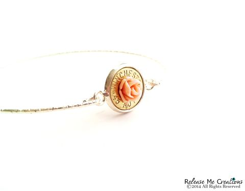 Blooming,Rose,Bullet,Silver,Bangle,Bracelet,bangle, bullet, rifle, winchester, for her, military, outdoors, bullet jewelry, bracelet, pink, rose, flower