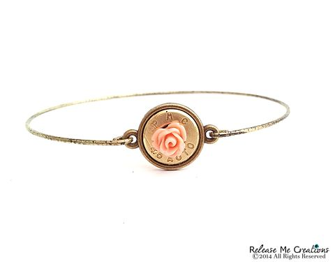 Blooming,Rose,Bullet,Gold,Brass,Bangle,Bracelet,bangle, bullet, rifle, winchester, for her, military, outdoors, bullet jewelry, bracelet, pink, gold