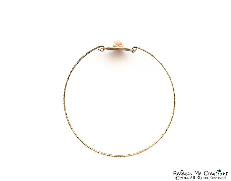Blooming Rose Bullet Gold Brass Bangle Bracelet - product image
