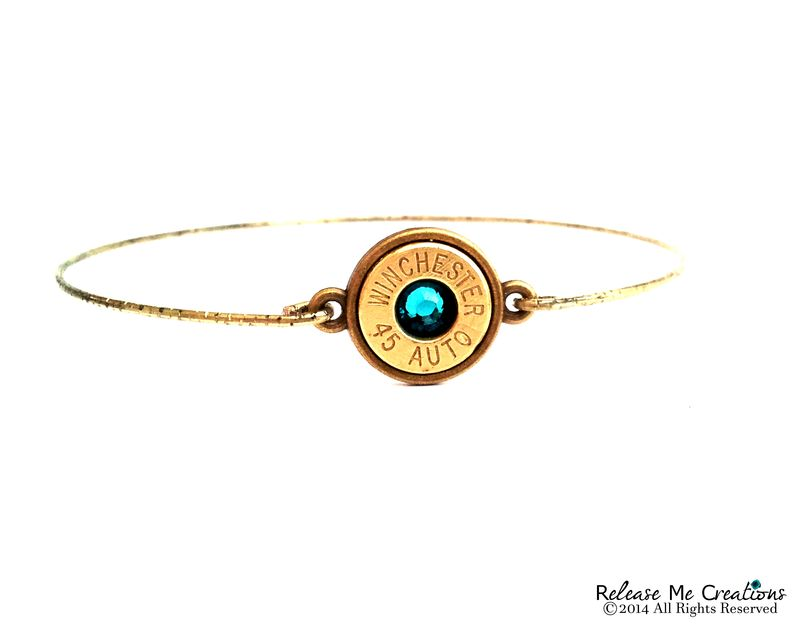 Bullet Birthstone Brass Bangle - product image