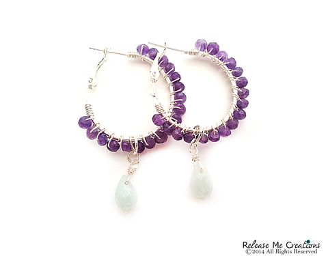Amethyst,and,Opaque,Blue,Chalcedony,Silver,Hoop,Earrings,hoop, earring, gemstone, amethyst, chalcedony, chandelier, for her, gift