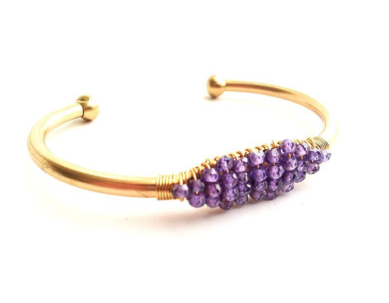 Gemstone Gold Cuff Bracelets Amethyst Blue Zircon Aquamarine