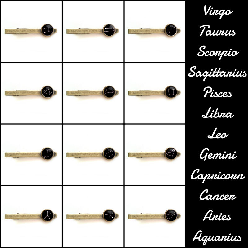 Mens Constellation Zodiac Tie Bar Clip - product image