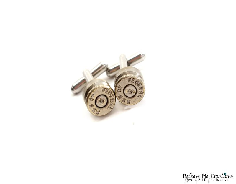 Silver Smith and Wesson Bullet Cufflinks - product image