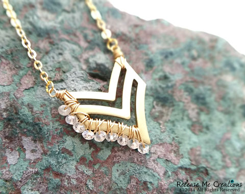 Gemstone,Gold,Chevron,Necklace,chevron, gold, for her, gemstones, turquoise, rubellite, labradorite, amethyst, black spinel, bohemian