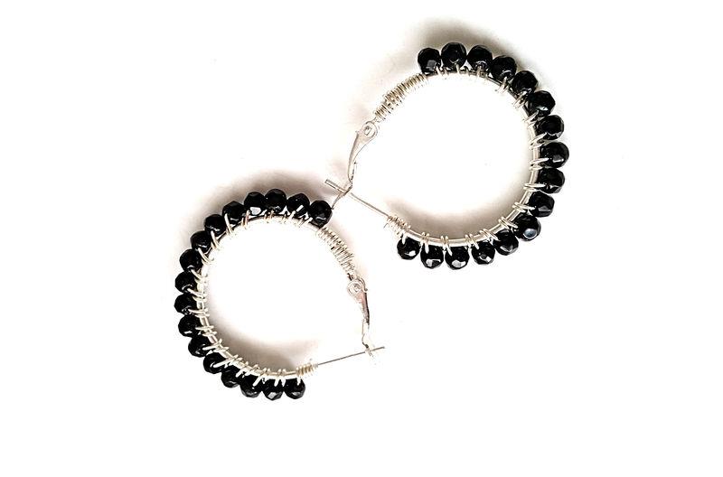 Black Onyx Silver Hoop Earrings Product Image