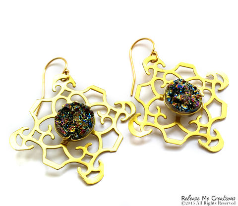 Rainbow,Druzy,NuGold,Filigree,Earrings,14k,Gold,Filled,Earwires,earrings, Emmys Jewelry, Celebrity Jewelry, Druzy, Rainbow, Gold, Nugold, 14k Gold, For her