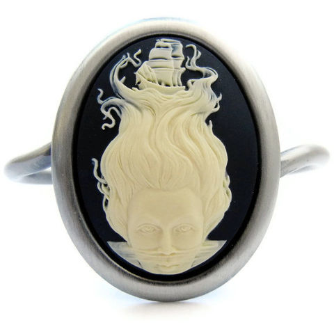 Nautical,Dreamer,Clipper,Ship,Cameo,Cuff,Jewelry,Bracelet,cameo,nautical,black,cream,brass,mermaid,wanderlust,clipper_ship,dreamlike,whimsical,gift,unisex