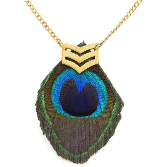 Military Peacock Feather Chevron Necklace Release Me