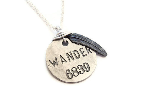 Wanderlust,Black,Feather,Stamped,Necklace,wanderlust, wander, wanderer, stamped, black, silver, feather, patina, for her, gift, theartisangroup