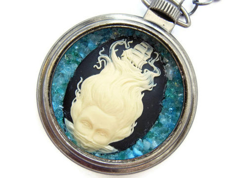 Nautical,Dreamer,Sea,Nymph,Necklace,Clipper,Ship,Cameo,wanderlust, wanderer, sea nymph, goddess, cameo, clipper ship, nautical, pocketwatch, blue, caribbean, gunmetal