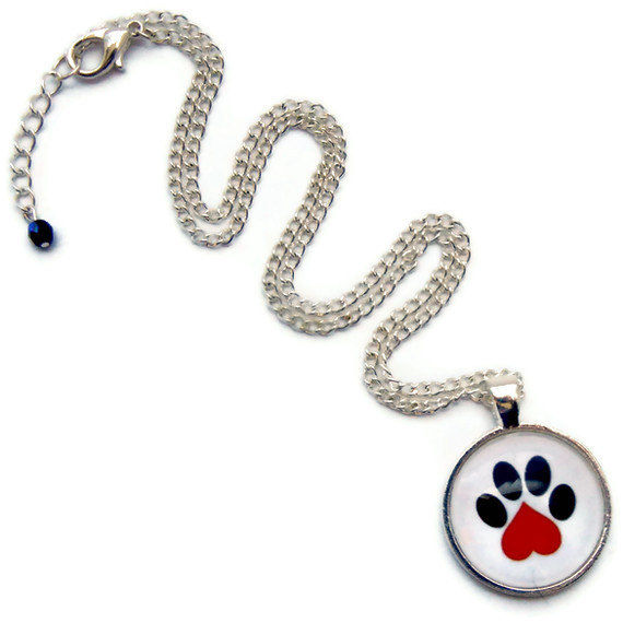 Pet Paw Heart Necklace Pet Lovers Paws in the City Rescue Jewelry - product image
