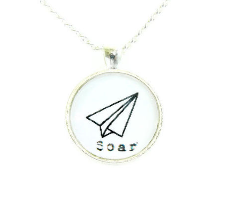 Whimsical,Soar,Paper,Airplane,Necklace,soar, paperairplane, silhouete, black and white, whimsical, necklace, for her, gift idea, wife, girlfriend, celebrity, theartisangroup, academyawards