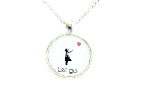 Banksy,Heart,Balloon,Girl,Let,Go,Necklace,banksy, heart balloon, let go, necklace, for her, street art, graffiti, theartisangroup, celebrity, academyawards, black, white, red