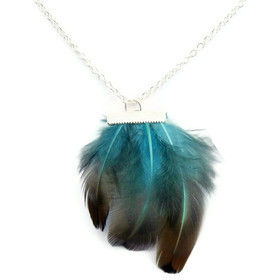 Bright,Blue,Feather,Silver,Necklace,feather, bird, fly, blue, black, brown, soft, whimsical, romantic, necklace, jewelry, for her, gift, theartisangroup