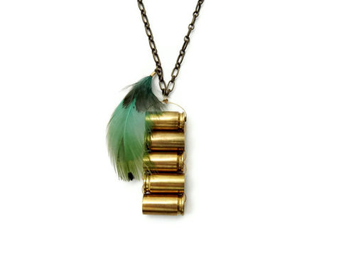 Blue,Feather,Bullet,Necklace,gift, for her, bullet casing, 9mm, bullet necklace, gun necklace, feather, feather necklace, blue, blue feather, statement necklace, edgy necklace, rocker necklace, rock and roll