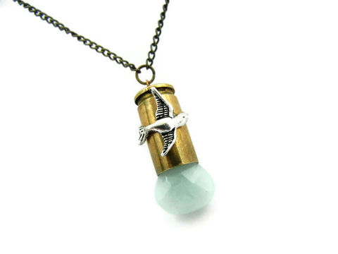 Seafoam,Blue,Chalcedony,Bird,Bullet,Necklace,handmade necklace, gemstone necklace, chalcedony necklace, for her, gift, bird, seafoam blue, green blue, bronze, jewelry, handmade jewelry, silver, bird necklace