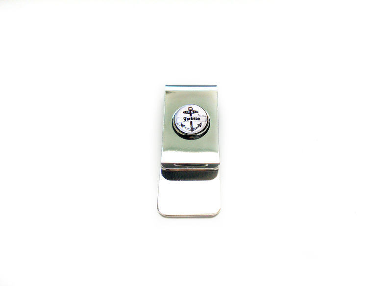 Nautical Vintage Anchor Personalized Money Clip For Him - product image