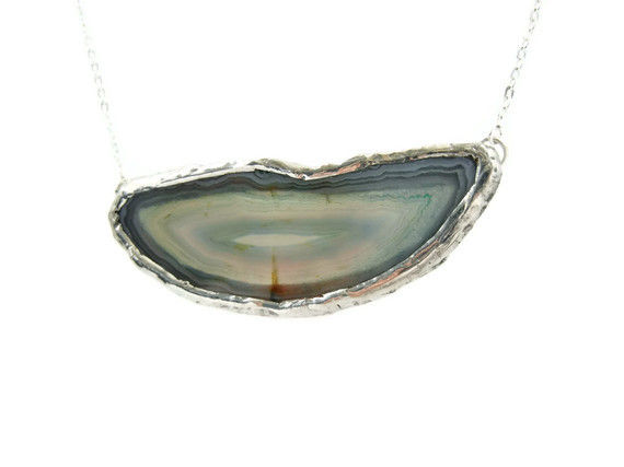 Horizontal Blue Druzy Agate Slice Necklace - product image  
