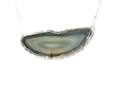 Horizontal,Blue,Druzy,Agate,Slice,Necklace