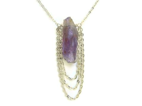 Natural,Purple,Amethyst,Chain,Cascade,Necklace,amethyst, crystal point, healing necklace, healing gemstone,  stress relief necklace, purple, lavender, gift, necklace for her