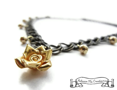 Gunmetal,14k,Gold,Beaded,Rose,Necklace,gunmetal, 14k gold necklace, 14k gold, 14k gold rose,  gunmetal gold, for her, necklace, jewelry, edgy, rocker
