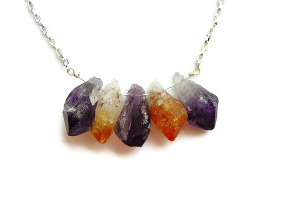 Raw Natural Amethyst Citrine Point Necklace - product image