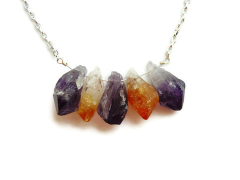 Raw,Natural,Amethyst,Citrine,Point,Necklace,natural amethyst, natural citrine, healing gemstones, healing jewelry, healing gemstone neckalce, natural amethyst and citrine, amethyst and citrine necklace, releasemecreations