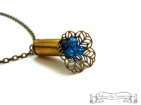 Blue,Swarovski,Blooming,Bullet,Necklace,bullet casing necklace, bullet necklace, swarovski crystal necklace, blue crystals, for her, jewelry for her, necklace for her, gift for her