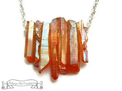 Tangerine,Aura,Quartz,Crystal,Necklace