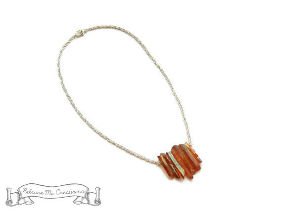 Tangerine Aura Quartz Crystal Necklace - product image