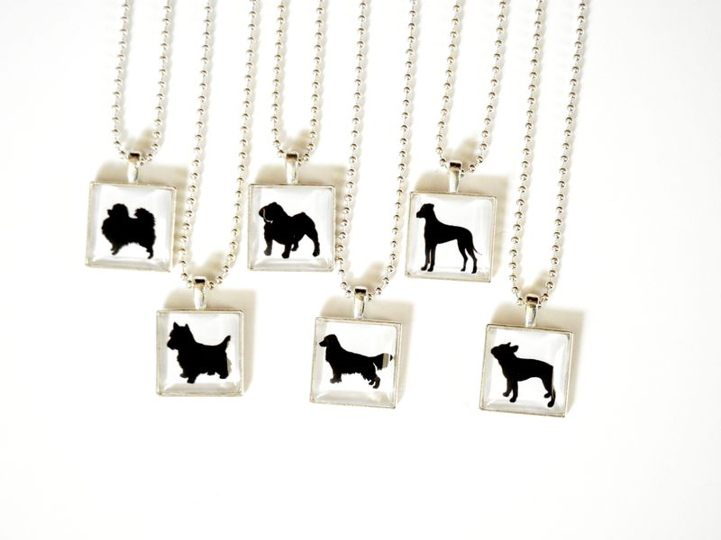 Customizable Personalized Dog Silhouette Necklace Paws in the City Charity Jewelry - product image