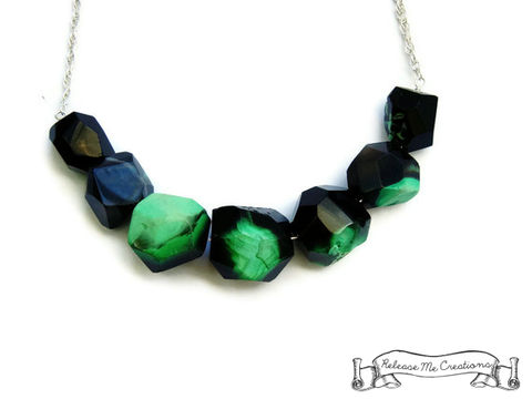 Black,Green,Geometric,Agate,Gemstone,Necklace,gemstone necklace, necklace, for her, releasemecreations, gift for her, jewelry for her, black agate, geometric necklace, geometric gemstone necklace, statement necklace, jewelry, green, green and black