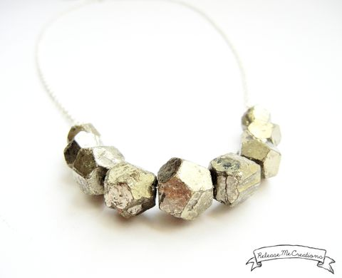 Faceted,Pyrite,Gemstone,Necklace,pyrite, pyrite necklace, faceted pyrite necklace, gemstone necklace, jewelry, necklace, for her, release me creations, gold, silver