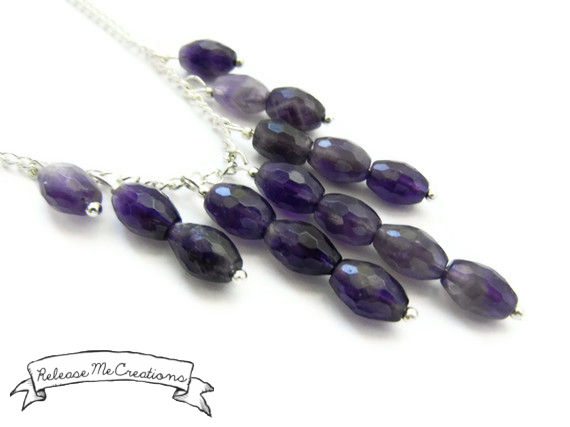 Amethyst Raindrops Cascading Gemstone Necklace - product image